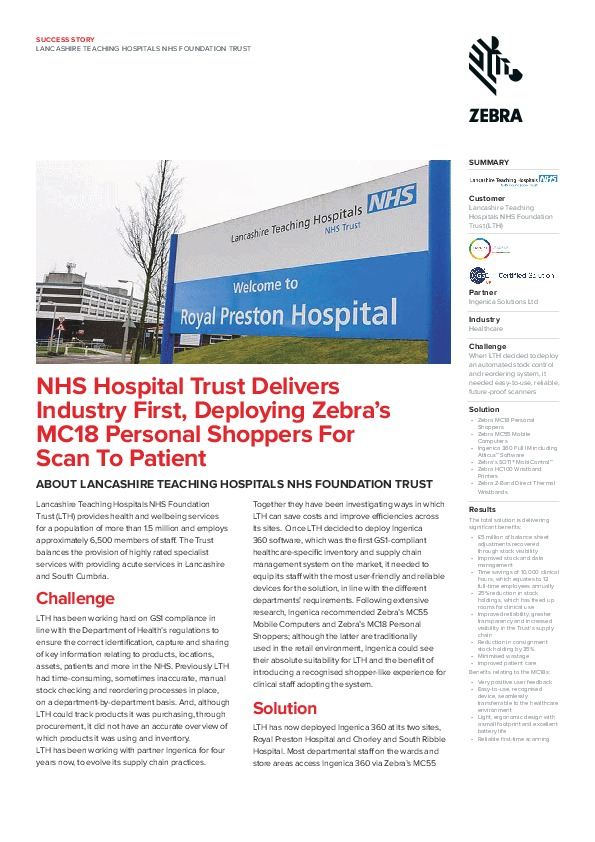 Lancashire Teaching Hospitals NHS Foundation Trust – Dolphin Data