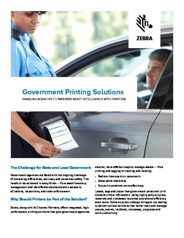 Government Printing Solutions – Dolphin Data Capture